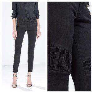 Zara Black Moto Biker Skinny Jeans
